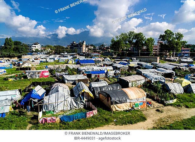 Aerial view, tent camp for people who lost homes in 2015 earthquake, Boudha suburb, Kathmandu, Kathmandu District, Nepal