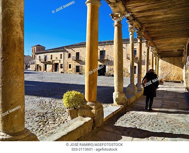 Plaza Mayor in Pedraza. Segovia. Castilla Leon. Spain