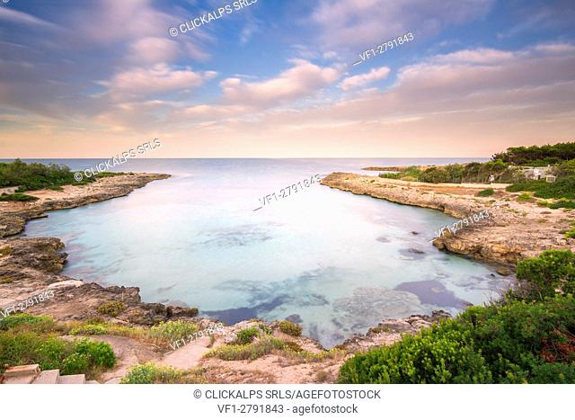 Europe,Italy, Salento beaches at sunrise, province of Taranto, Apulia