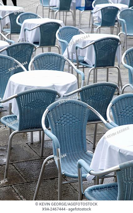 Cafe Tables and Chairs; San Marcos - St Marks Square; Venice; Italy