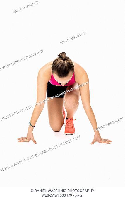 Teenage girl in start position