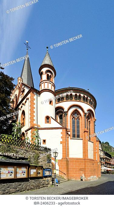 Lutheran Church of St. Peter, Choir facade with round towers, Bacharach, UNESCO World Heritage Site, Rhineland-Palatinate, Germany, Europe