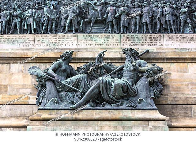 Detail of the Niederwalddenkmal in Ruedesheim am Rhein, Hesse, Germany, Europe