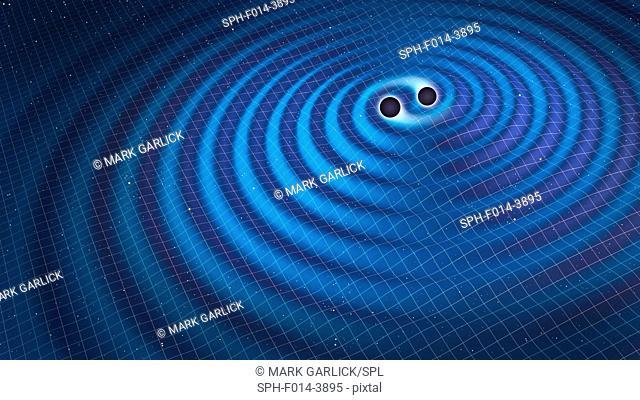 Gravitational waves. Illustration of two black holes orbiting each other, emitting gravitational waves. Gravitational waves are a prediction of Einstein's...