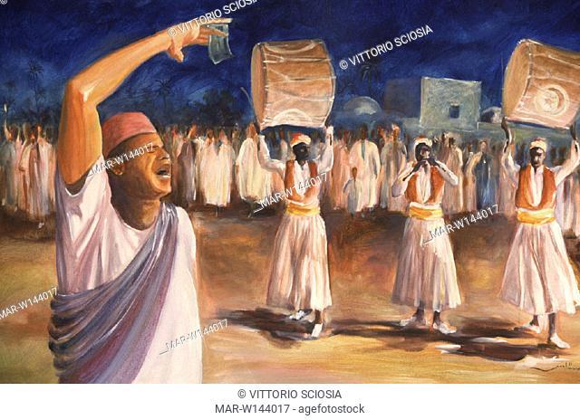 africa, tunisia, djerba, a painting representing djerba