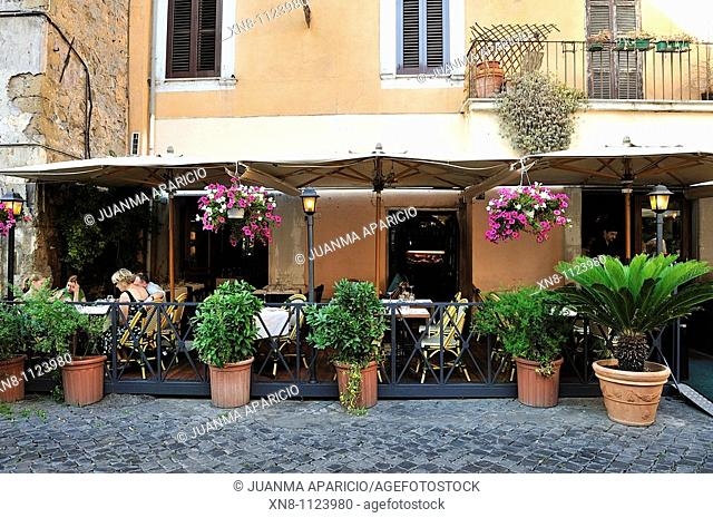 Typical street in the Trastevere neighborhood located on the west bank of the Tiber, Rome