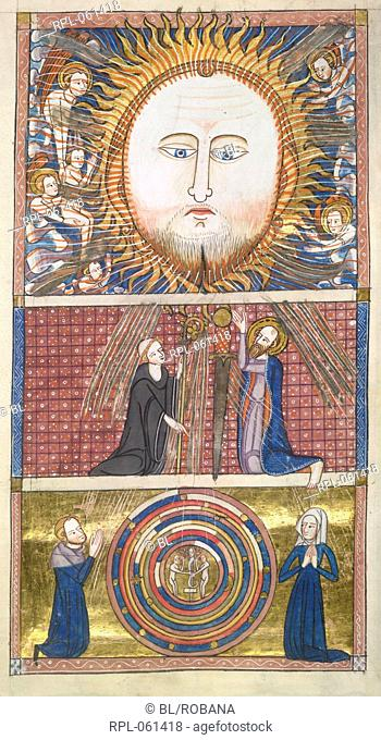 Christ the Sun attracts souls Detail Top the divine head with rays drawing up souls. Centre St Benedict and St Paul kneeling
