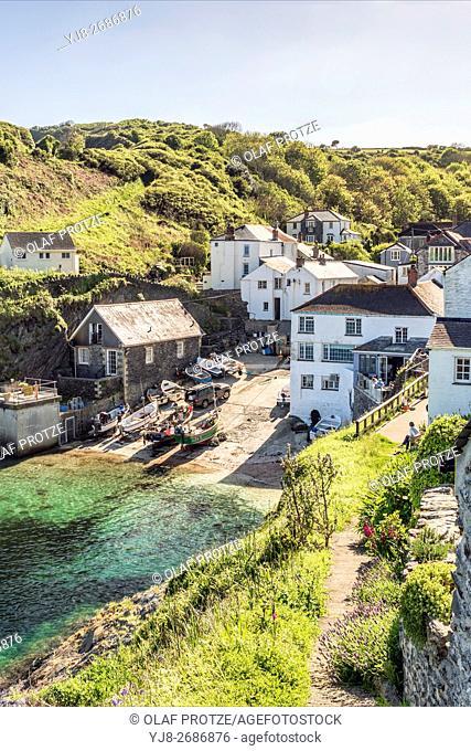 View over the small coastal Cornish village Portloe, Cornwall, England, United Kingdom