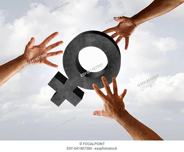 Female sexual harassment and workplace assault concept as a woman symbol with the threat of grabbing hands as a social issue metaphor in a 3D illustration...