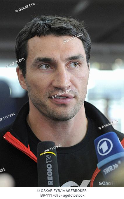 Wladimir Klitschko during an interview at the press conference for the two opponents in the WBC Heavyweight championship bout on 21.3