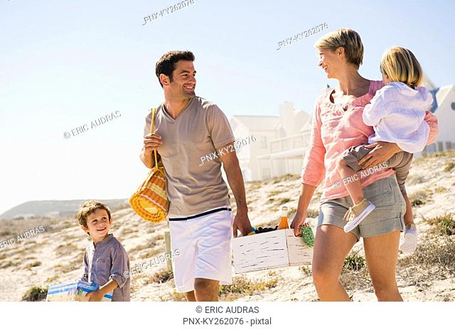 Family on vacations on the beach