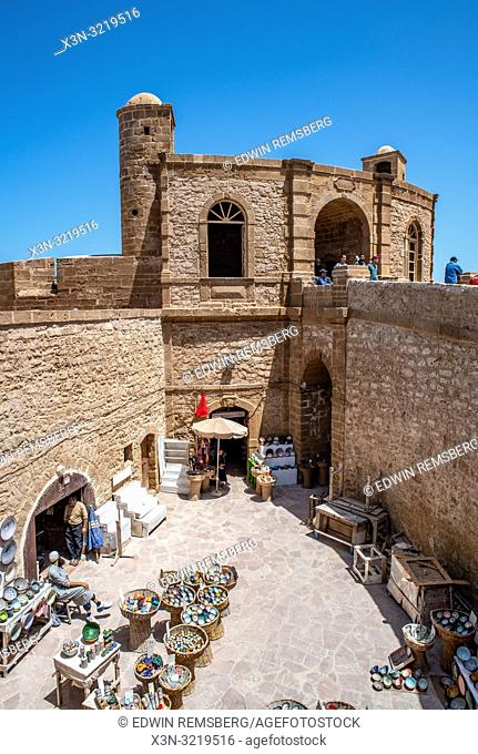 Descending View of Market Selling Colorful Pottery, Essaouira, Marrakesh-Safi, Morocco