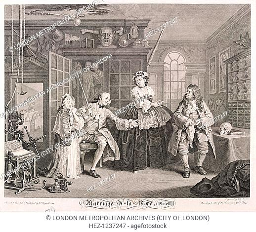 'Marriage a la Mode', 1745; plate III. The nobleman is in the house of Dr Misaubin, no 96 St Martin's Lane. He threatens the quack with his cane for having...