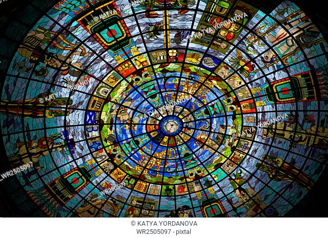 Stained Glass with Mayan Symbology in Shopping center in Cancun, Mexico