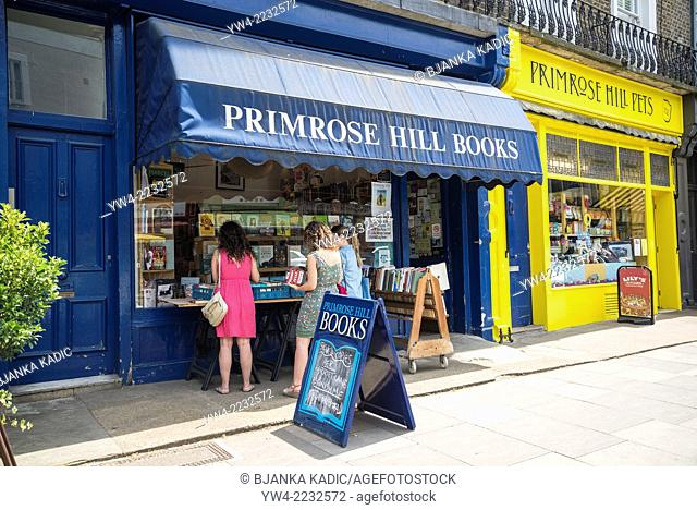 Primrose Hill Books secondhand bookshop, Regents Park Road, Camden NW1, London, England, UK