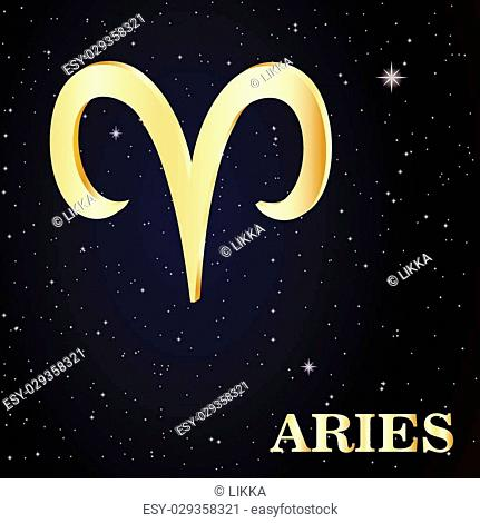 Sign of the zodiac Aries is the starry sky, vector Illustration. Contour icon
