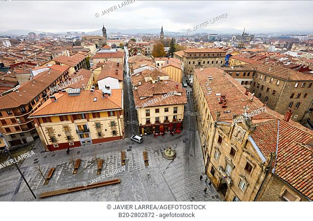 Views of the city of Vitoria from the tower of the cathedral, Vitoria-Gasteiz, Araba, Basque Country, Spain, Europe