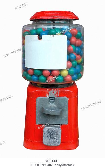 Candy dispenser, Gum ball machine, Vending machine with white empty label