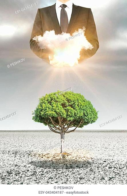 Abstract image of green tree in desert with man holding illuminated cloud above. Heaven concept