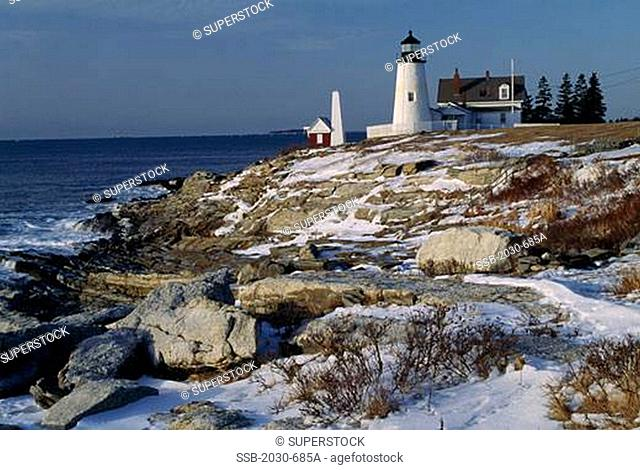 Lighthouse on a cliff, Pemaquid Point Lighthouse, Pemaquid Point, Bristol, Maine, USA