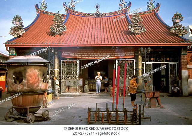 Kuan Yin Teng Buddhist temple, Georgetown, Penang, Malaysia. Kuan Yin Teng Temple, Temple of the Goddess of Mercy, in George Town in Penang Island in Malaysia