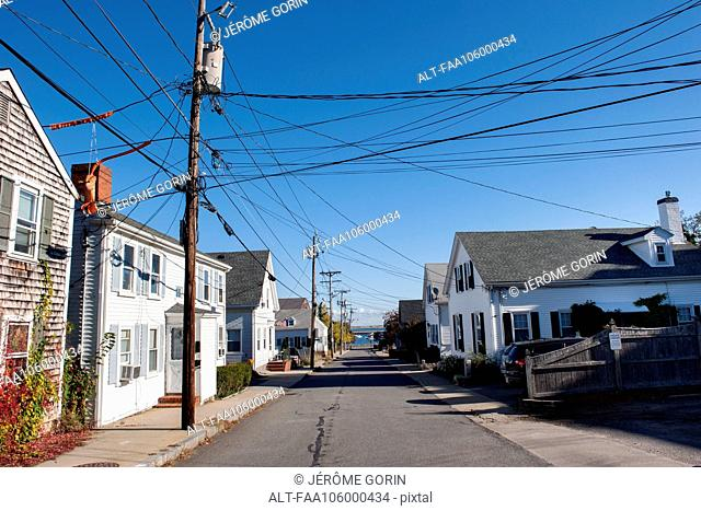 Residential street in Plymouth, Massachusetts, USA