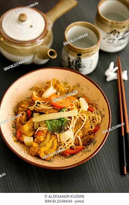 Chopsticks near a bowl of food