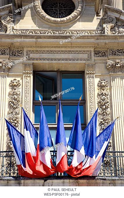 France, Paris, Louvre, French Ensigns on balcony