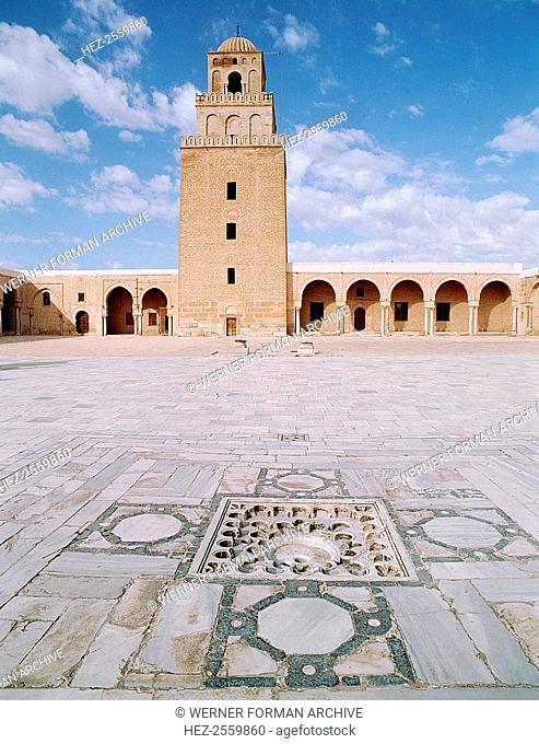 The Great Mosque at Kairouan, one of the oldest Islamic buildings and the first important one in North Africa. Country of Origin: Tunisia