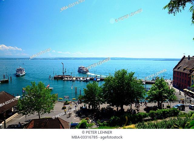 Germany, Baden-Wurttemberg, Lake of Constance, Meersburg, harbour, promenade