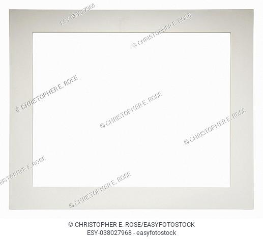Empty picture frame isolated on white, landscape format, in a plain white painted wood finish