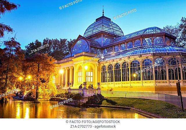 The Palacio de Cristal (Crystal Palace), located in the heart of The Buen Retiro Park. Madrid. Spain
