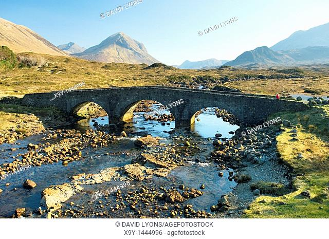 Isle of Skye, Inner Hebrides, Scotland  Looking to the Cuillin Hills over the River Sligachan and old stone bridge at Sligachan