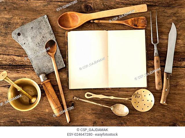 Cookbook and kitchen utensils