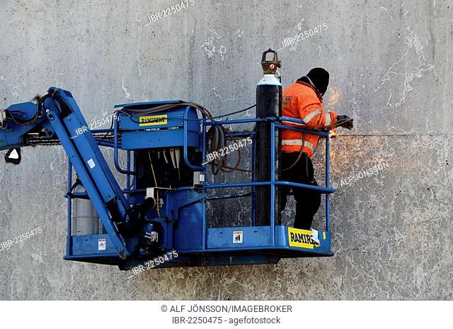 Pulling down a silo, Skane, Sweden, Europe