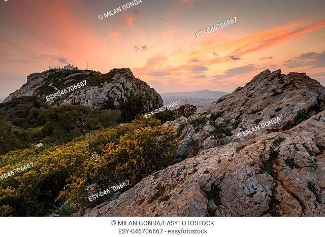 Lycabettus hill in the centre of Athens at sunset, Greece.