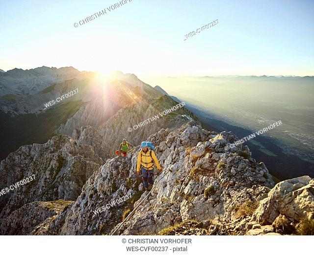Austria, Tyrol, Innsbruck, mountaineer at Nordkette via ferrata