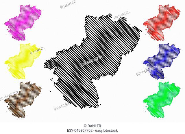 Pays de la Loire (France, administrative region, Loire Country) map vector illustration, scribble sketch Pays de la Loire map