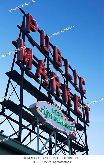 Pike Place Public Market Neon Sign  Seattle Washington State USA