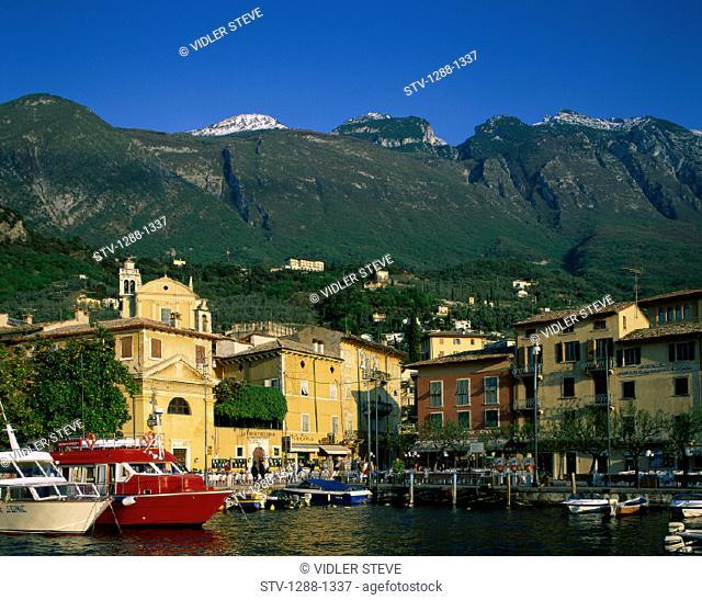 Boats, Coastal, Colorful, Garda, Harbor, Holiday, Italy, Europe, Lake, Lake garda, Landmark, Malcesine, Marina, Mountains, Quain