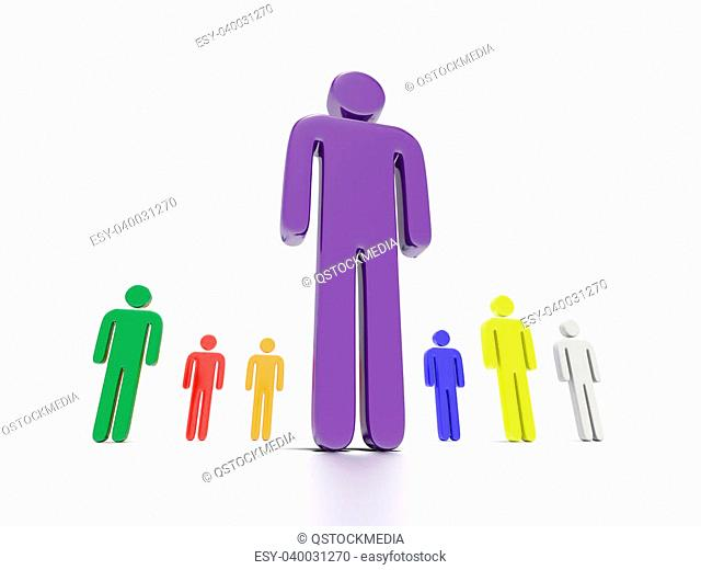 A concept graphic depicting colorful characters. Rendered against a white background with a soft shadow and reflection