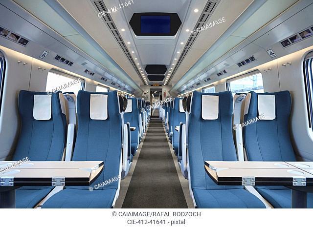 Seats in empty passenger train