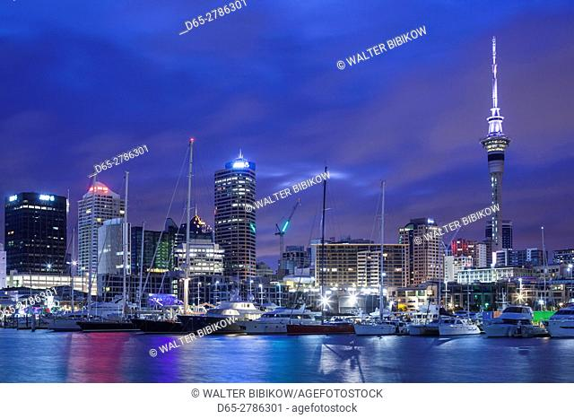 New Zealand, North Island, Auckland, Viaduct Harbour, dawn