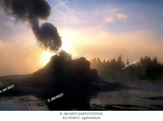 Yellowstone National Park, Wyoming - Castle Geyser in Yellowstone's Upper Geyser Basin at dawn on a cold winter morning
