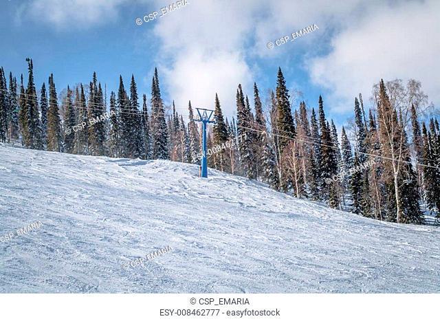 Mountain skiing view