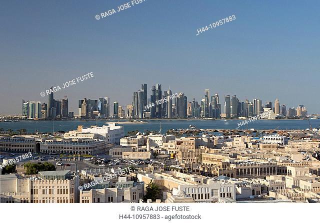 Burj, Doha, Qatar, Middle East, architecture, bay, city, colourful, contrast, corniche, futuristic, minaret, old, panorama, skyline, skyscrapers, touristic