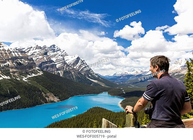 Canada, Alberta, Banff National Park, Tourist at Peyto Lake seen from Bow Summit