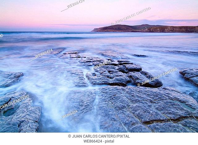 Langre beach in the evening, Cantabria, Spain