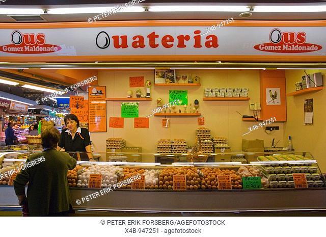 Shop selling eggs at Santa Caterina market in Barcelona Spain Europe