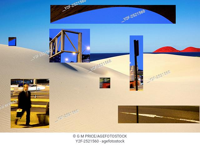 image fragments of businessman walking by Sydney freeway mixed with unreal, undulating dunes by ocean